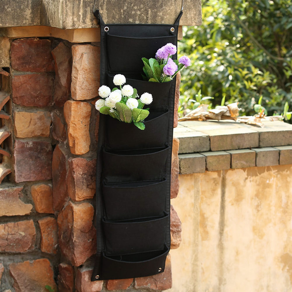 7 Pockets Hanging Vertical Garden Planter Indoor Outdoor Herb Pot