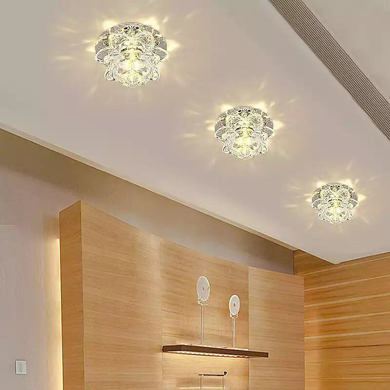 5W LED Crystal Lotus Ceiling Light Flush Lamp Main Auxiliary Light Indoor Corridor Lighting AC85-265V Pure White/Warm Light