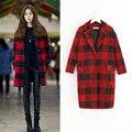 S-XL New 2017 casacos femininos Women Coat Women's Slim Red Woolen Coat Autumn Winter Wool Coat Slim Winter Coat Plaid YY395
