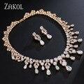 ZAKOL Luxury Bridal Fashion Drop Cubic Zirconia Simulated Diamond Necklace and Earrings Wedding Jewelry Set For Women FSSP034