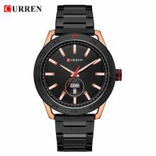 CURREN Top Brand Luxury Watches Mens Casual Quartz Watch Male Clock Fashion Stainless Steel Band Waterproof Wristwatch with Week 2018 curren mens watches top brand luxury black stainless steel quartz watch men casual sport clock male wristwatch 8266