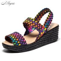 Mhysa 2018 Summer Women Sandals Shoes Women Woven Flat Wedge Platform Sandals Flip Flops Thick Sole