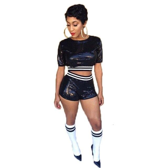 Moda Lentejuelas Night Club Mujeres de Dos Piezas Trajes 2016 Sexy Traje de dos Piezas Crop Top Y Pantalones Cortos Establecidos Femenino Bodycon Plus tamaño