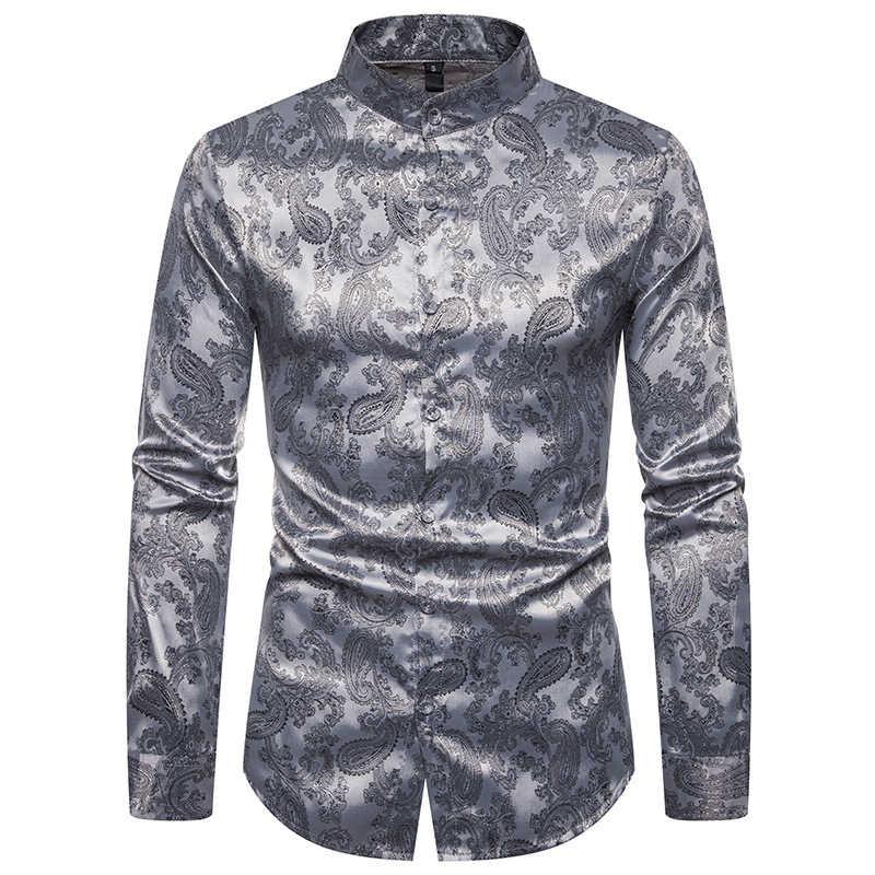 2019 neue männer Silk Satin Shirts Floral Gedruckt Langarm Casual Shirts Männlichen Slim Fit Stehkragen Print Business hemd 2XL