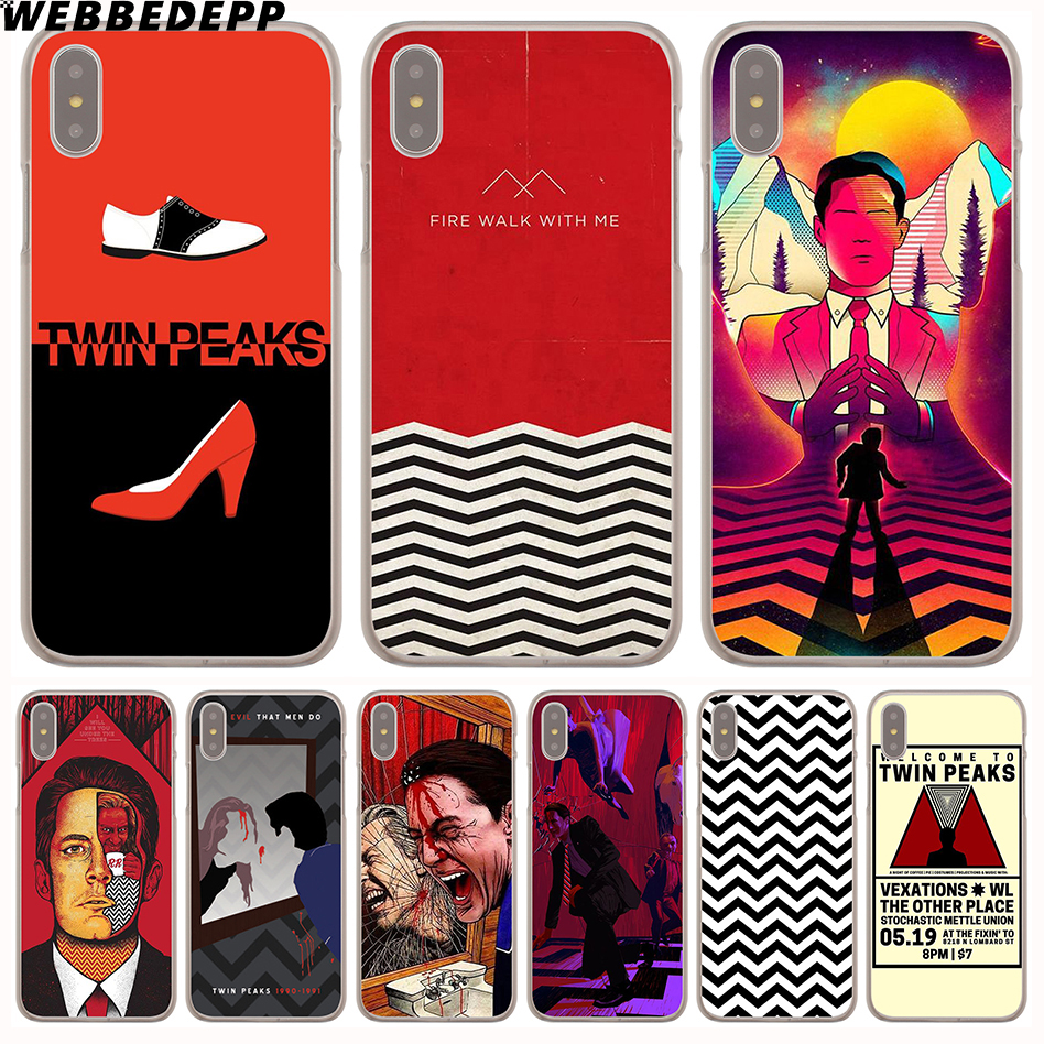 WEBBEDEPP Red WELCOME TO TWIN PEAKS Hard Transparent Cover Case for iPhone 8 Plus 7 Plus 6 6s Plus X/10 5 5S SE 5C 4 4S