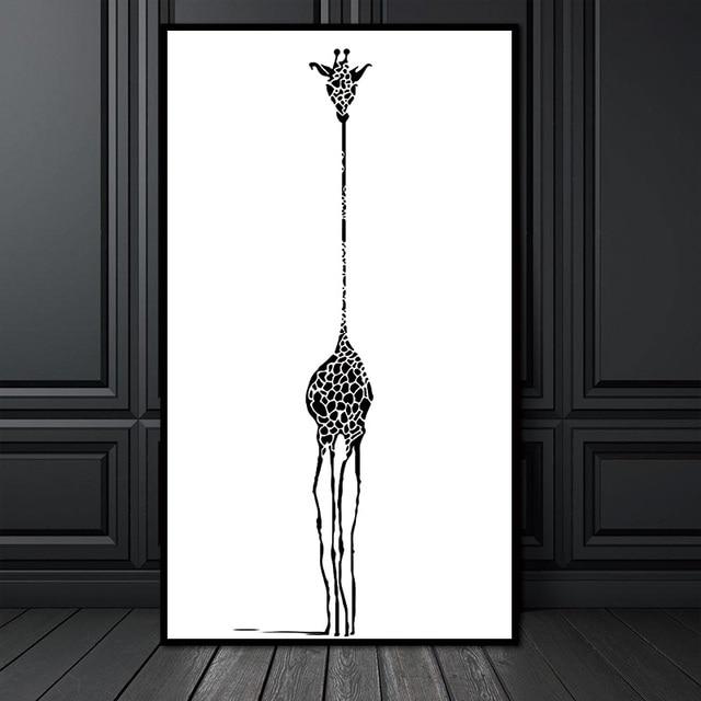 7 01 Mur Photo Toile Peintures Decoration Pas Encadree Nordique Minimaliste Noir Blanc Abstrait Girafe Animal Print Affiche Hippie Dans Peinture Et
