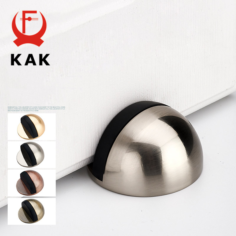 KAK Zinc Alloy Rubber Door Stopper Non Punching Sticker Hidden Door Holder Catch Floor Mounted Nail-free Door Stop Door Hardware