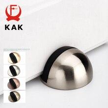 цена на KAK Zinc Alloy Rubber Door Stopper Non Punching Sticker Hidden Door Holder Catch Floor Mounted Nail-free Door Stop Door Hardware