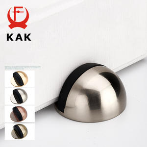 KAK Zinc Alloy Rubber Door Stopper Non Punching Sticker Hidden Door Holder Catch Floor Mounted Nail-free Door Stop Door Hardware