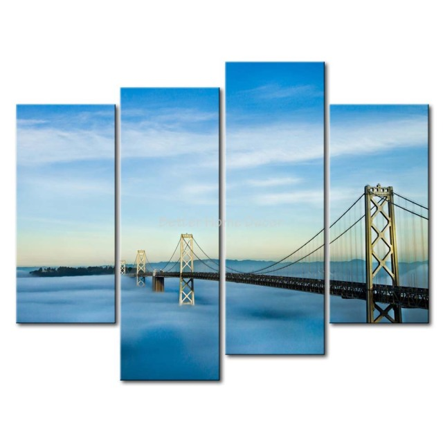 3 Piece Wall Art Painting San Francisco Oakland Bay Bridge Picture Print On  Canvas City 4