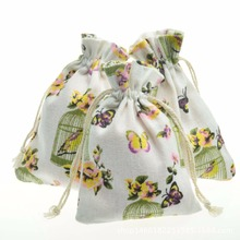 20 Pcs/Lot Reusable Flower Butterfly Drawstring Cotton Bags Recycable Small Jewelry Gift Packaging Pouches