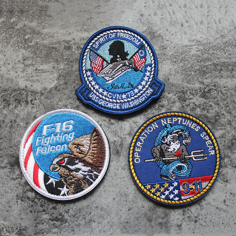 USA Embroidery Morale Magic Sticker F16 Fighting Falcon Washington USS George Neptune Spear Action Tactical Badge Patch(China)