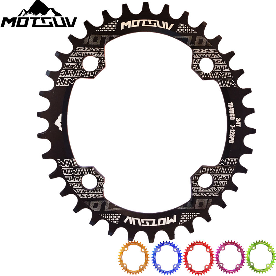 MOTSUV Bicycle Crank 104BCD Oval 32T 34T 36T 38T Chainring Narrow Wide Ultralight MTB Bike Chainwheel Circle Crankset Plate