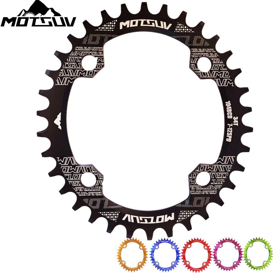MOTSUV Manivela Da Bicicleta 104BCD Oval 32 T 34 T 36 T 38 T Coroa Estreito Largo Ultraleve MTB Roda Dentada Da Bicicleta círculo Placa Pedaleira