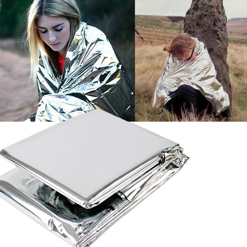 Emergency Blanket 210*130CM Outdoor Camping Portable Survival Kits Rescue Insulation Curtain Life-saving Military Silver Blanket