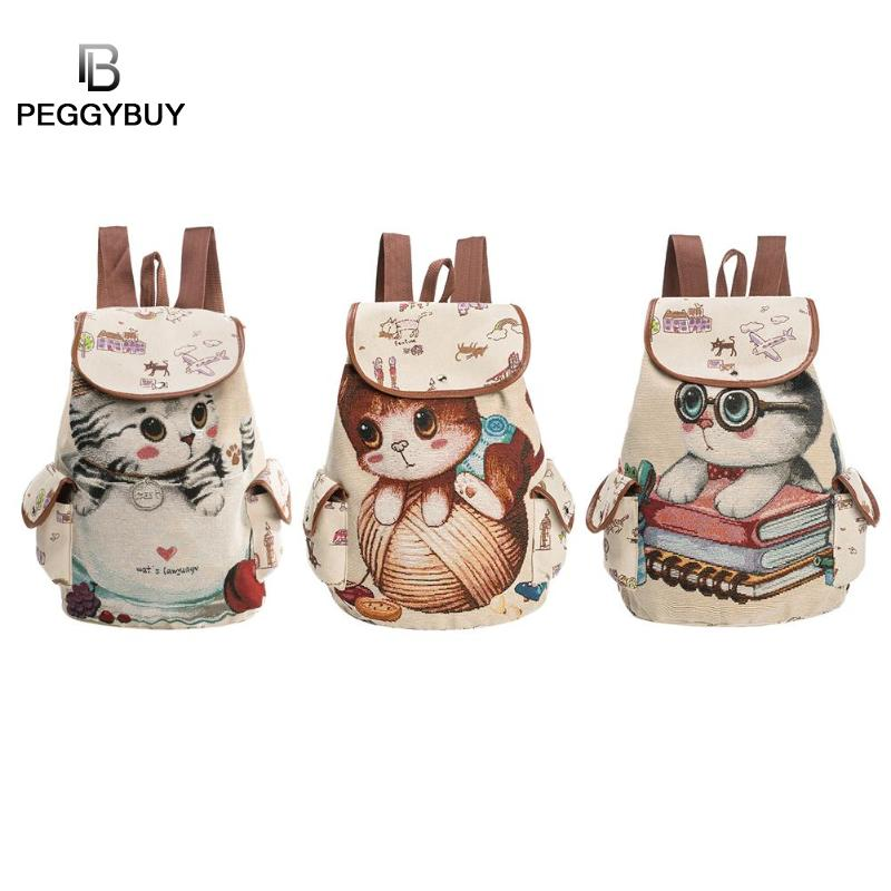 Canvas Backpack Lovely Cat Printed Drawstring Backpacks Teenager Large Ladies School Bag Rucksack Mochila