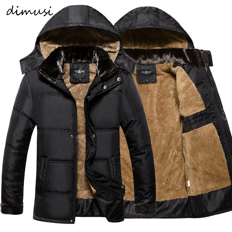 DIMUSI Winter Men Thick Warm Jacket Male Cotton Fluff Lining   Parkas   Male Casual Outwear Windbreaker Detachable Hat Hoodies,TA193