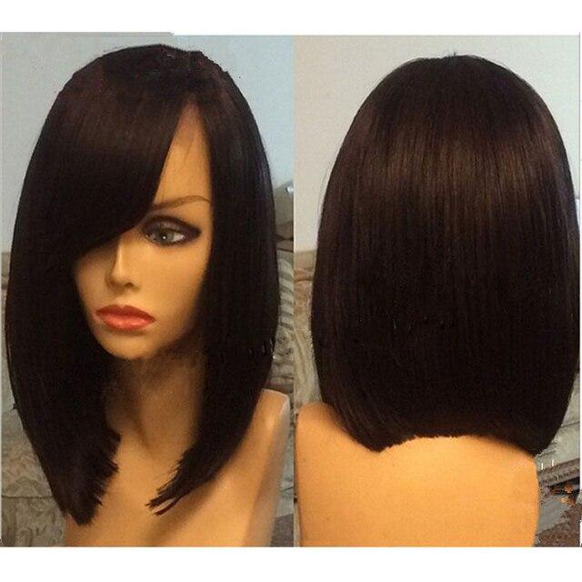 Bob Wigs Side Bangs Human Hair Lace Front Bob Wig Guleless Brazilian Lace  Front Wigs Baby 99ddc2731d