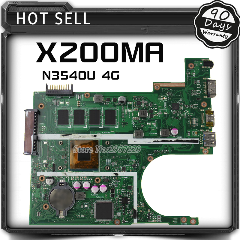FOR ASUS Motherboard F200MA F200M X200M X200MA rev2.1 Mainboard With N3540U 4G Memory Test 100% Work asus p5kpl se desktop motherboard p31 socket lga for 775 core pentium celeron ddr2 4g atx uefi bios original used mainboard