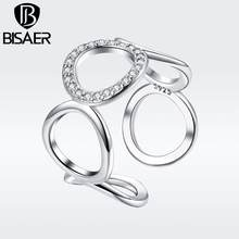 BISAER Copper Minimalist Round Circle Open Adjustable Rings Women Crystal Fashion Jewelry 2019 New Mode Argent Bijoux GSR216