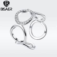 BISAER Copper Minimalist Round Circle Open Adjustable Rings Women Crystal Fashion Jewelry 2019 New Mode Argent Bijoux GSR216