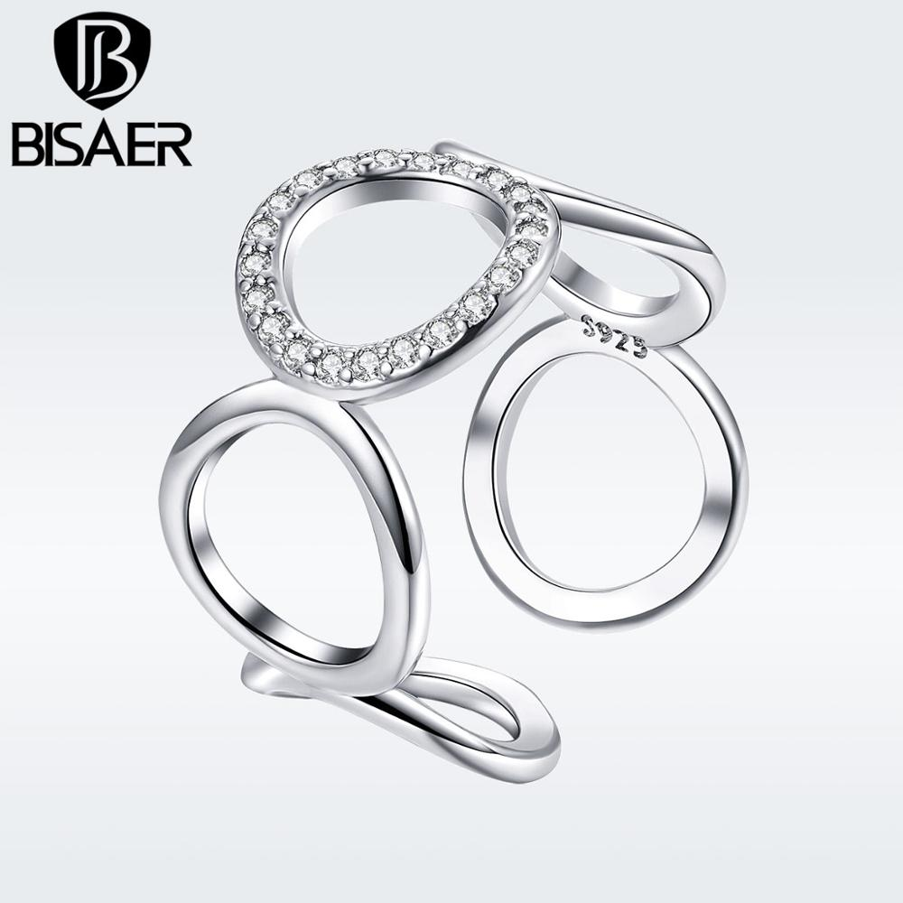 BISAER Minimalist Round Circle Open Adjustable Rings Women Crystal Fashion Jewelry 2019 New Mode Argent Bijoux GSR216