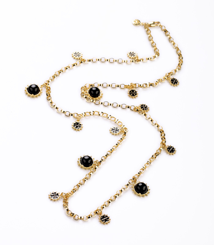 Black & Red Beads And Chains Filigree Necklaces Designed For Sweater Dressing