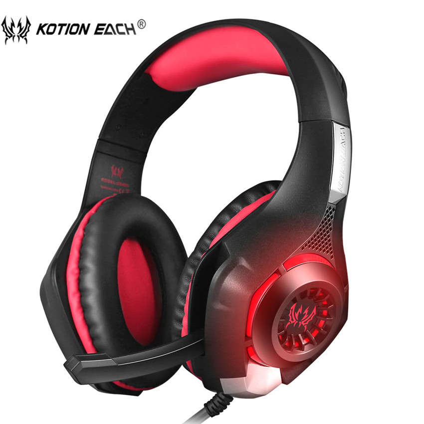KOTION EACH GS400 PC Headset Gaming Headphones with Microphone LED for PS4 New Xbox one Switch Notebook Phone Game PUBG Earphone brand new g9000 3 5mm usb gaming headphone headset microphone cool led laptop tablet pc mobile phone ps4 game headphones