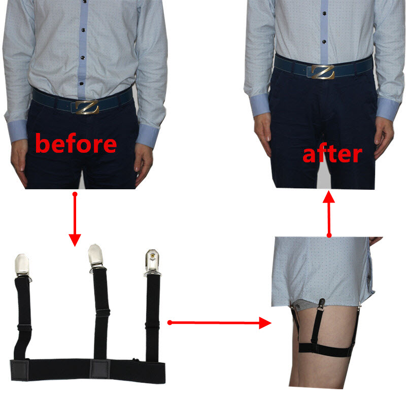 Mens Shirt Stays Garters Elastic Nylon Adjustable Shirt Holders Crease Resistance Belt Stirrup Style Suspenders