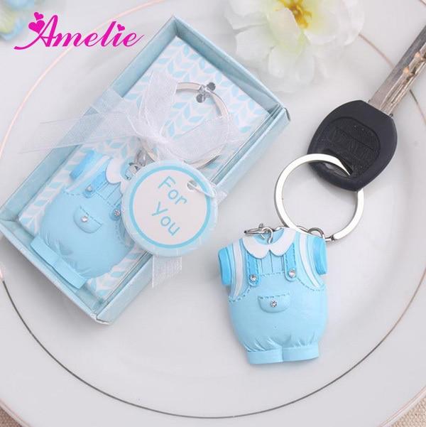 20Pcs/Lot Wholesale Blue Dress Baby Boy Favors Resin Lovely Souvenir For  Newborn Baby Shower