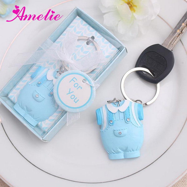 20Pcs/Lot Wholesale Blue Dress Baby Boy Favors Resin Lovely Souvenir For  Newborn Baby Shower