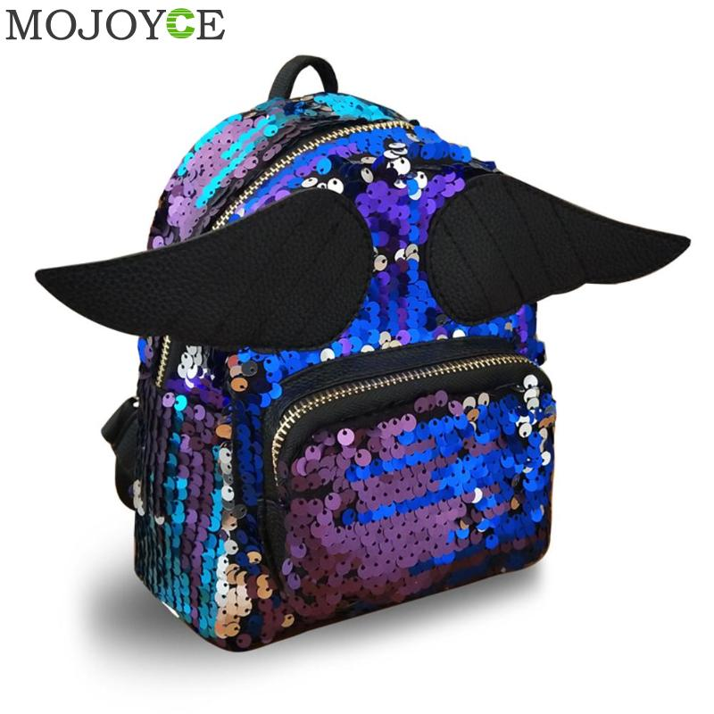 Cartoon Wings Shining Sequins Backpack Children Girls School Bag Shoulder Bag Women Mini Travel Backpack Little Bag Rucksack