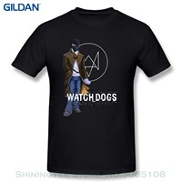 Hipster Cool O Neck Tops, Kazzar Men's Watch Dogs ,Aiden Pearce Fan Art T Shirt