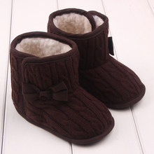Newborn Baby Toddler Crochet Knit Fur Boots Girl Infant Warm Booties Crib Shoes Boot Soft Sole Kids Wool Baby Shoes(China)