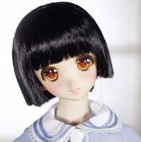 New 22 24cm Black Short hair One knife flat 1/3 BJD SD DD Doll Wig