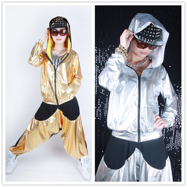Wholesale spliced jazz Loose Zipper dance jackets Thin harem women men unisex Gold Silver shiny Top performance wear