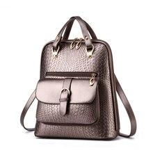 Роскошные минималистский womenpu кожаный рюкзак модные простые Крокодил зерна леди рюкзак черный дорожная сумка