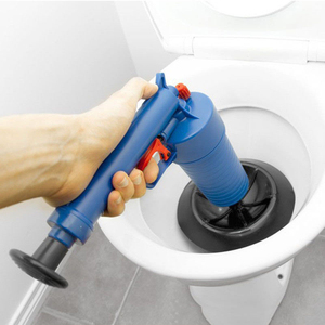 Image 1 - Air Drain Blaster High Pressure Pump Cleaner Unclogs Toilet Sewer Cleaning Brush Kitchen Bathroom Powered Plunger Remover Tool