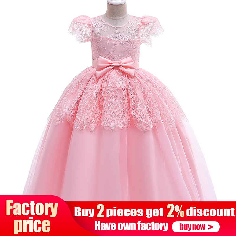 Princess Evening Dress Children's Long Party Dress Flower Girl Dress For Wedding First Communion Baby Costume Ball Gown Clothing