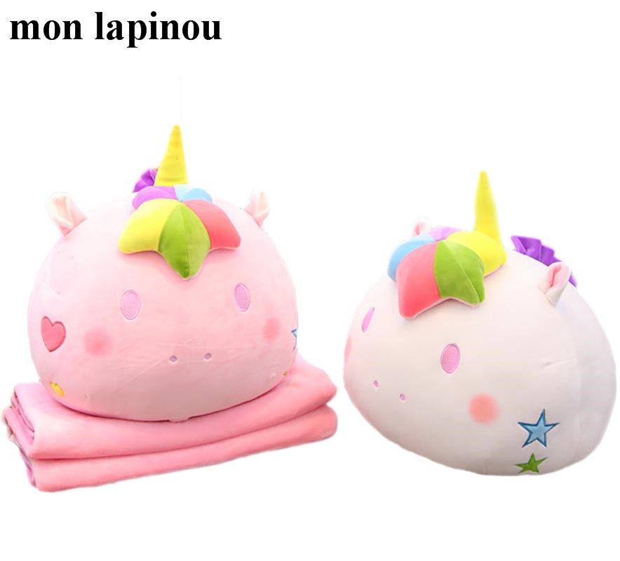 unicorn plush pillow with blanket 2 in 1 throw pillow round shap unicorn toy multifunction pillow kids toys gift for girlfriend santa claus printed throw pillow case