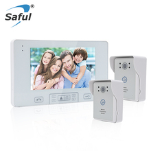 Saful Rainproof Wireless Video Door Phone 7″ TFT 2.4G Touch key unlock function Night vision 2 Door Camera + 1 White Monitor