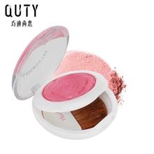 QUTY Art  Powder Blush Rose Natural Soft Makeup Palette Baked Blusher Cheek Blusher Brush 3 Color