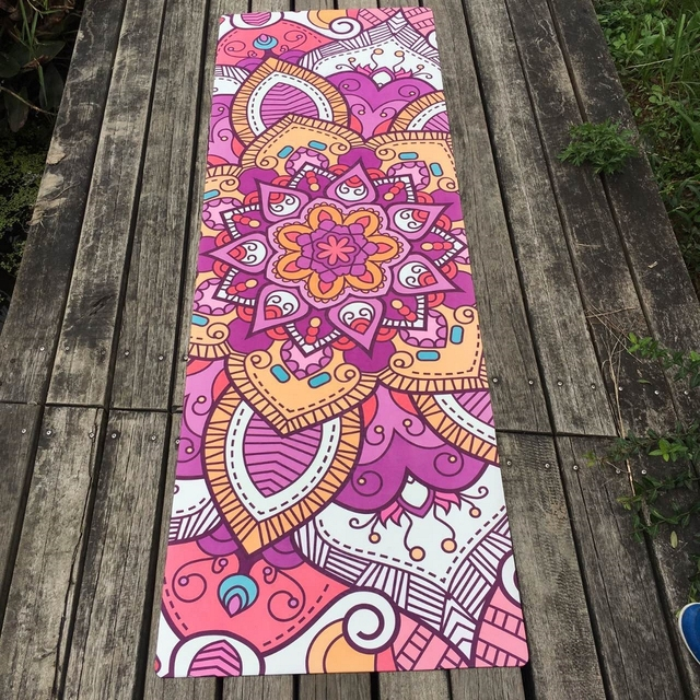 Natural Rubber – Purple Floral Hot Yoga Mat – 3.5mm