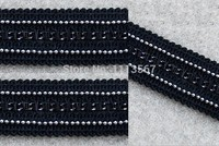 20yards Craft Black Braided Trim Silver Chain Trim Decorated Ribbon Trim For Wedding Clothes Curtain Accessories