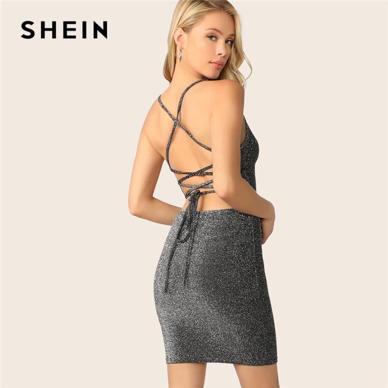 SHEIN Sexy Grey Crisscross Tie Back Glitter Bodycon Cami Solid Summer Party Dress Women Stretchy Glamorous Slim Short Dresses
