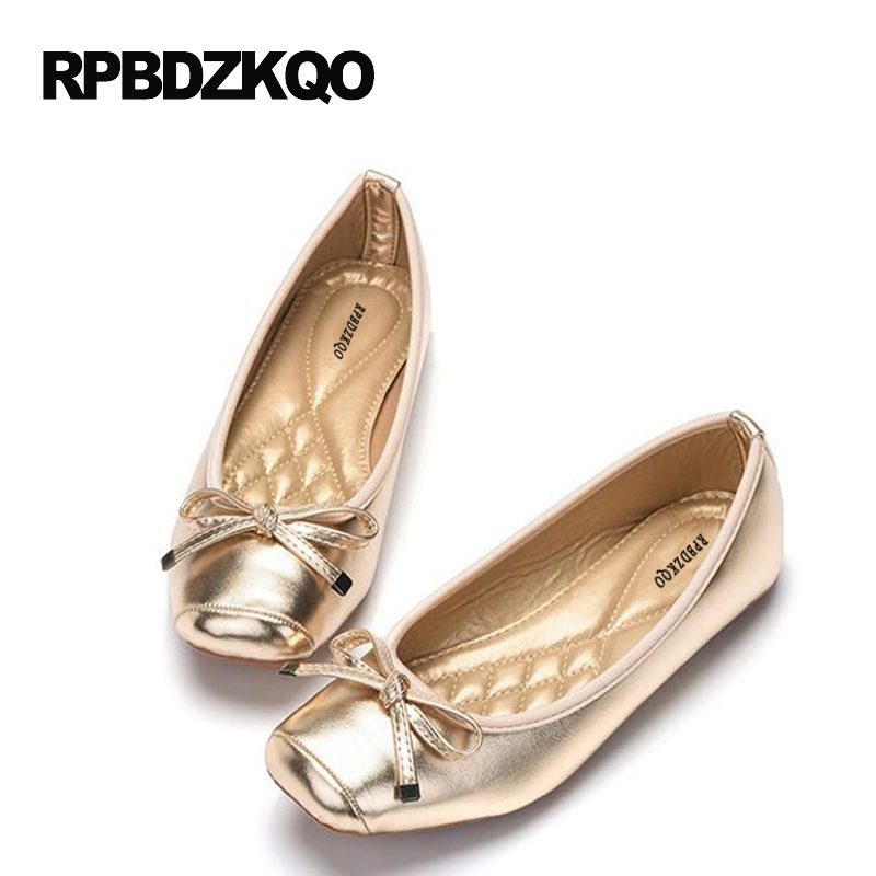 Up Plegables Zapatos oro Ballet Negro Square 10 Lazo Elástico Arco Suave Para Negro gun Planos Bailarina Tamaño Color Talla Roll Toe 9 Grande De Oro Baratos Mujer 0xwPSr0R