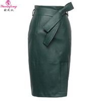 Yuxinfeng PU leather Skirt Women Plus Size Spring Autumn Sexy High Waist Faux leather Skirts Womens Belted Fashion Pencil Skirt