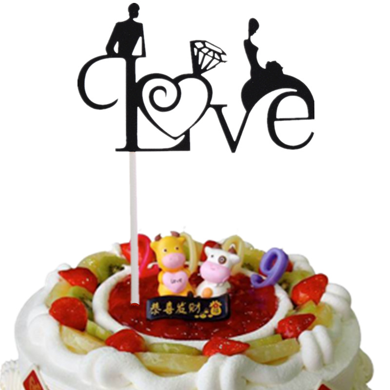 20pcs/lot Love Heart Cake Flag Bridal Cake Toppers Multi Colors Wedding Engagement Party Cake Decoration Wholesale Supplies DIY