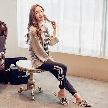 cbec229f74b4 Lunares Rosa lindo mujeres conjuntos de pijama de manga larga de otoño 100%  algodón cepillado acogedor ropa de dormir de las mujeres Pijamas