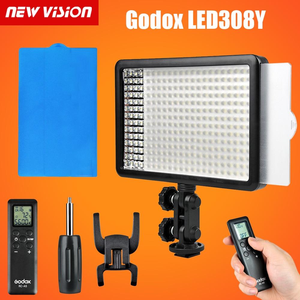 Godox LED 308Y Непрерывной На Камеру Видео Освещение Свет Панели 3300 К Портативный Затемнения для Видеокамер Камеры DSLR